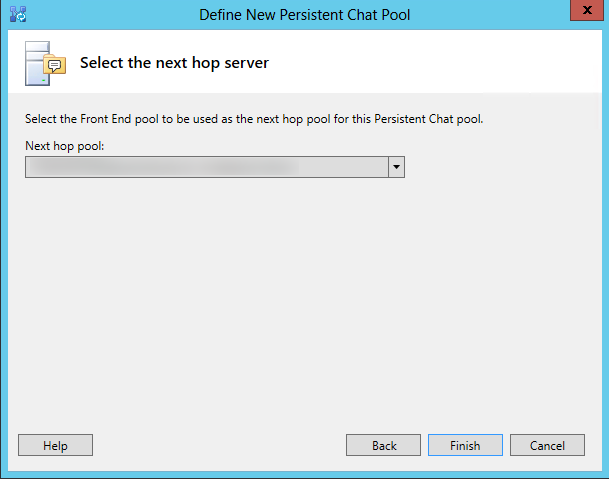 Define the next hop server for the persistent chat pool