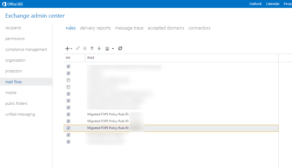 Exchange admin center - mail flow - rules