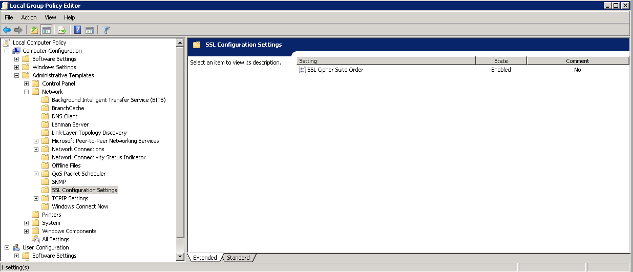 Group Policy Editor - SSL Configuration Settings
