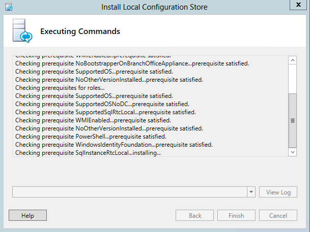 Install Local Configuration Store - WindowsIdentityFoundation prerequisite satisfied