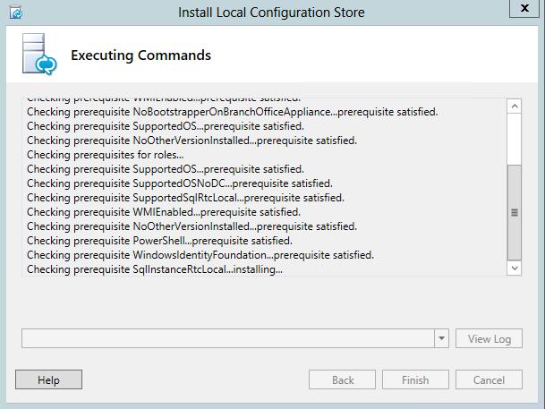 Install Local Configuration Store - WindowsIdentityFoundation prerequisite satisfied