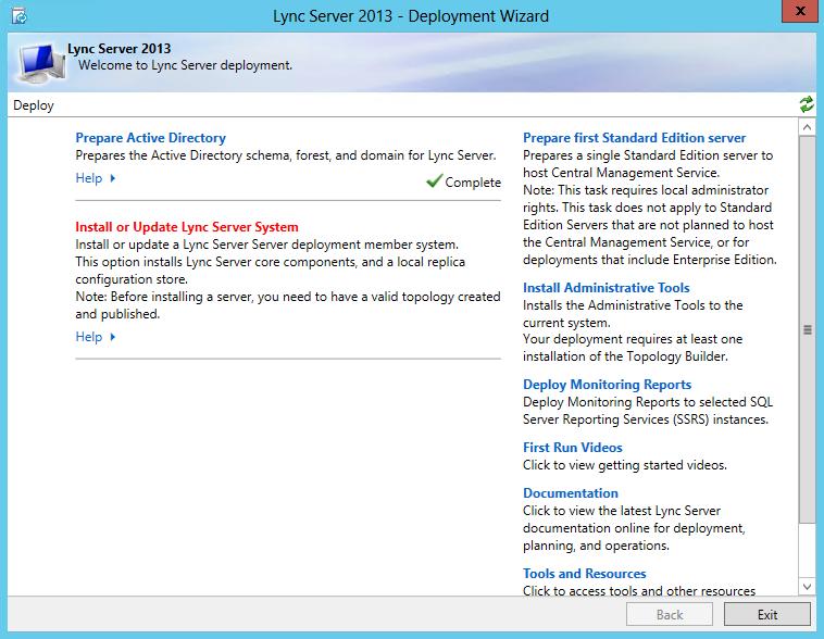 Lync Server 2013 - Install or Update Lync Server System