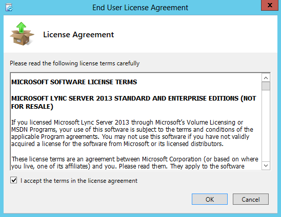 Lync Server 2013 Installation EULA