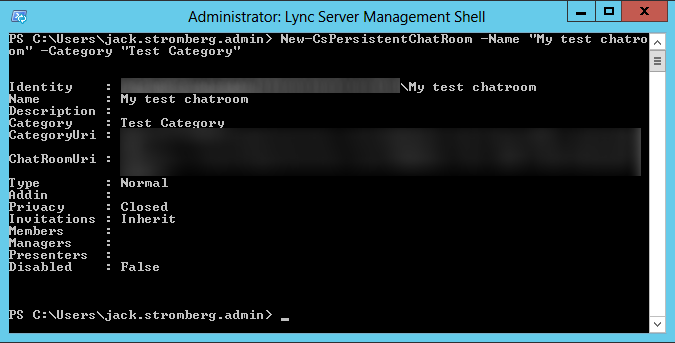 Lync Server Management Console - New-CsPersistentChatRoom