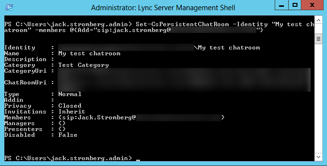 Lync Server Management Console - Set-CsPersistentChatRoom