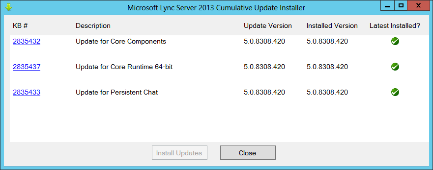 Microsoft Lync Server 2013 Cumulative Update Installer for Persistent Chat Updated