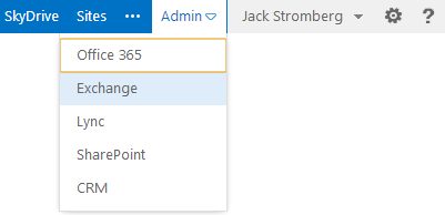 Office 365 Admin Portal - Exchange Link
