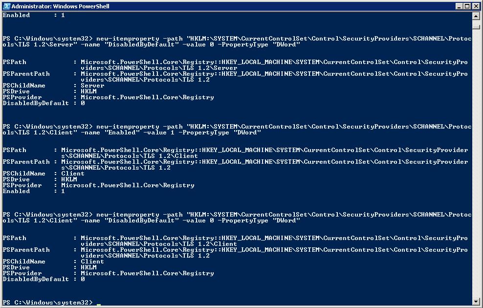PowerShell TLS 1.2 Registry Edits