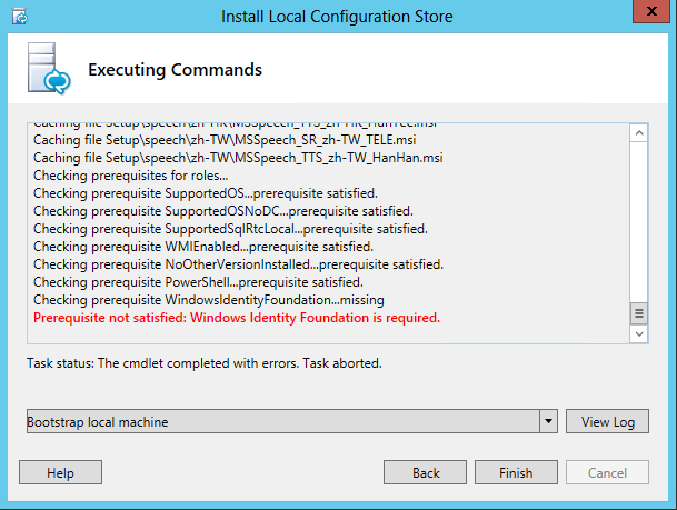 Prerequisite not satisfied - Windows Identity Foundation is required.