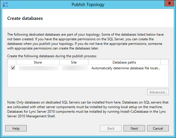 Publish the Topology Wizard - Create databases