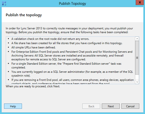 Publish the Topology Wizard