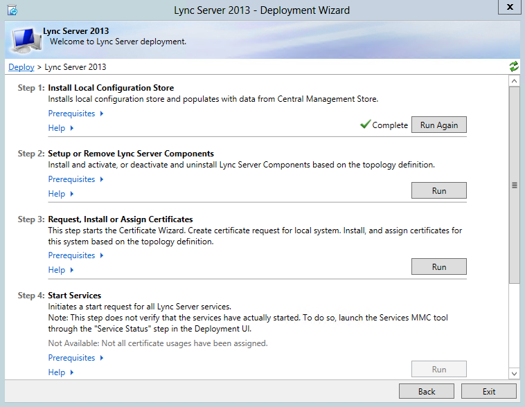 Run Step 2 Setup or Remove Lync Server Components