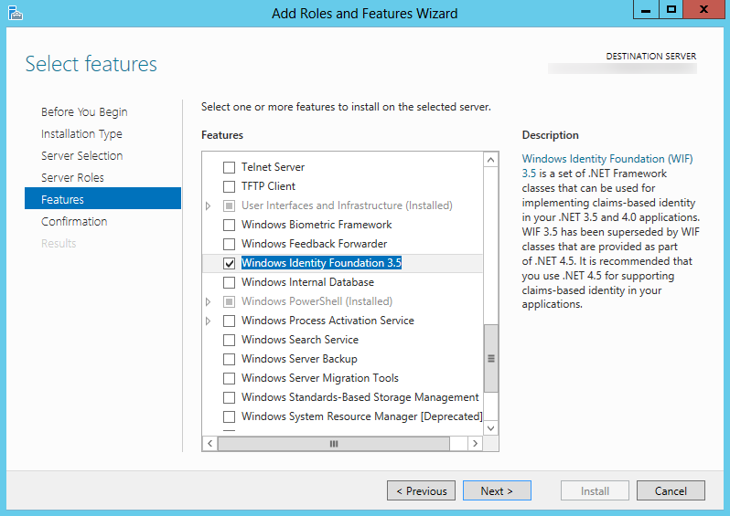 Server 2012 - Add Roles and Featuers Wizard - Windows Identity Foundation 3.5