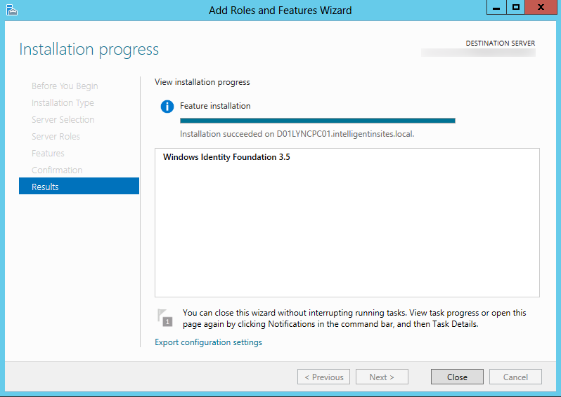 Server 2012 - Add Roles and Featuers Wizard - Windows Identity Foundation 3.5.png - Install Finish