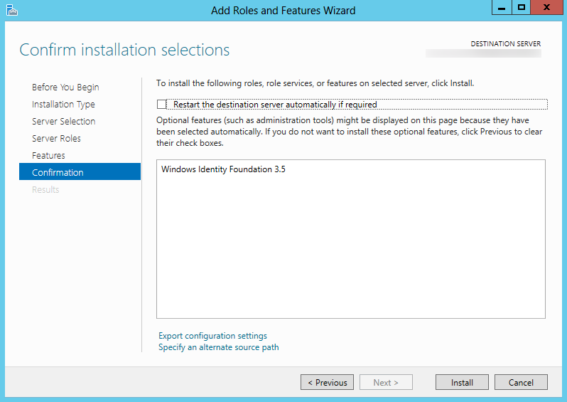 Server 2012 - Add Roles and Featuers Wizard - Windows Identity Foundation 3.5.png - Install