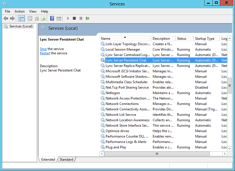 Services - Lync Server Persistent Chat