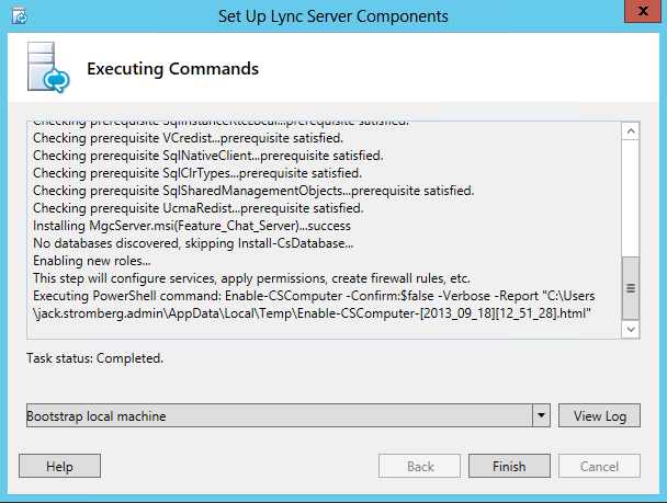 Set up Lync Server Components - Finish