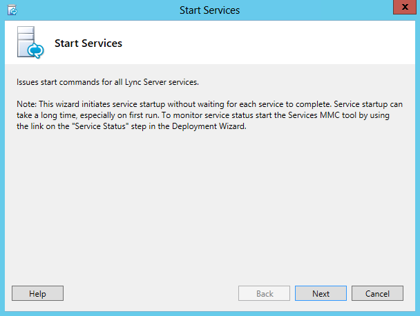 Start Services Wizard