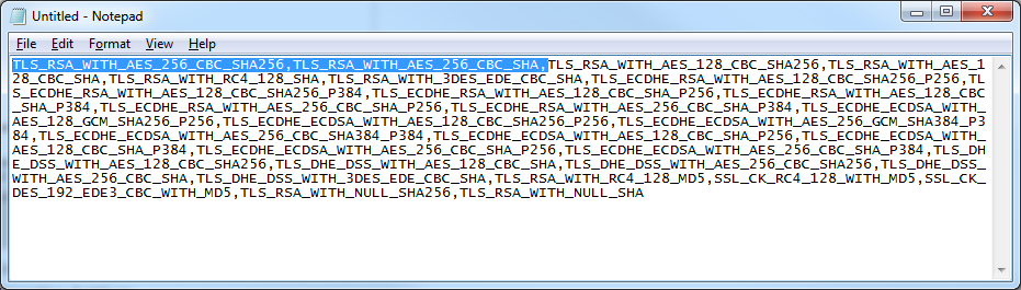 TLS_RSA_WITH_AES_256_CBC_SHA256,TLS_RSA_WITH_AES_256_CBC_SHA Cipher Suite order