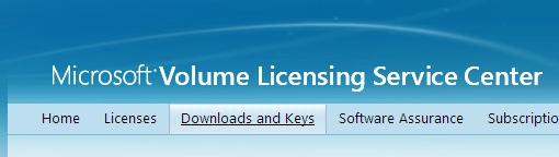 Volume Licensing Service Center - Downloads and Keys