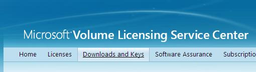 Volume Licensing Service Center - Downloads and Keys
