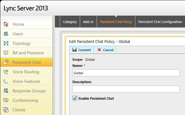 cscp - Persistent Chat - Edit Global Policy