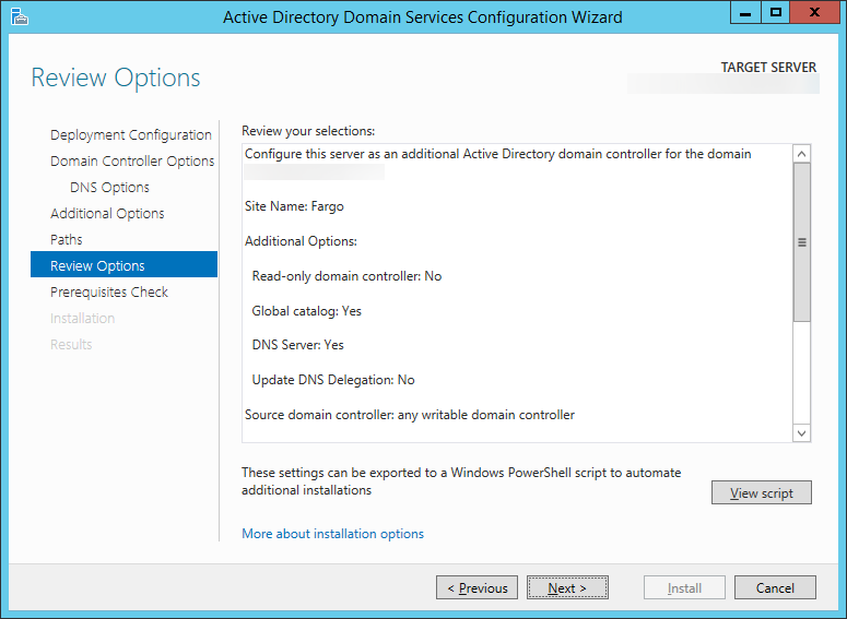 Active Directory Domain Services Configuration Wizard - Review Options