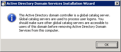 Active Directory Domain Services Installation Wizard - Active Directory domain controller is a global catalog server dialog