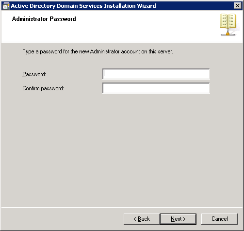 Active Directory Domain Services Installation Wizard - Administrator Password