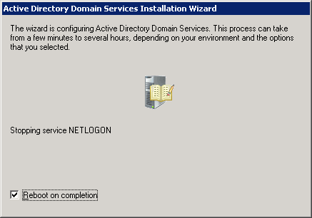 Active Directory Domain Services Installation Wizard - Reboot on completion