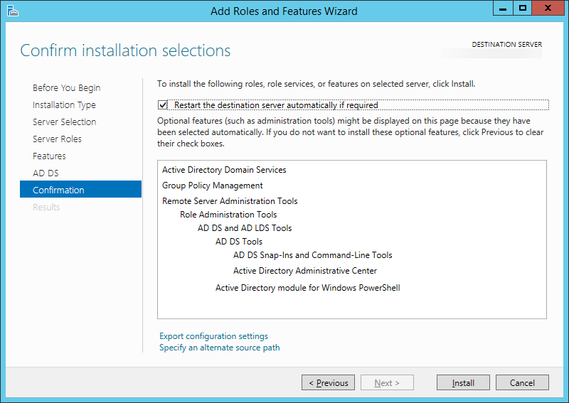 Add Roles and Features Wizard - Confirm installation selections - restart