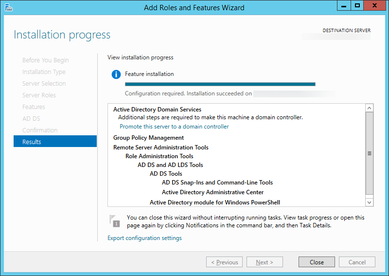 Add Roles and Features Wizard - Installation progress