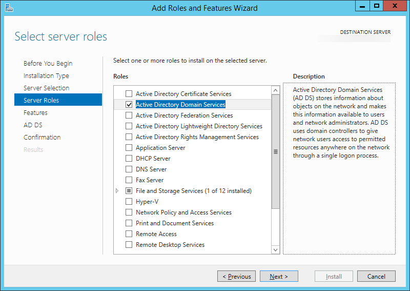 Add Roles and Features Wizard - Select server roles - Active Directory Domain Services Checked