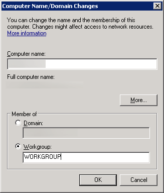 Computer Name - Domain Changes - Workgroup