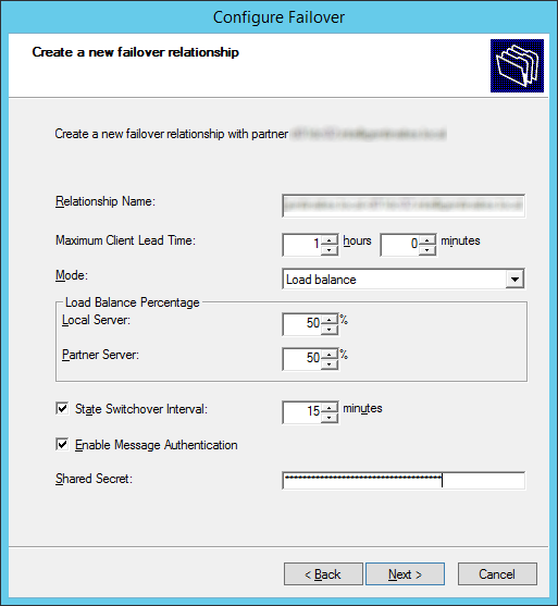 Configure Failover - Create a new failover relationship