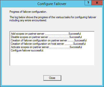 Configure Failover - Progress of failover configuration