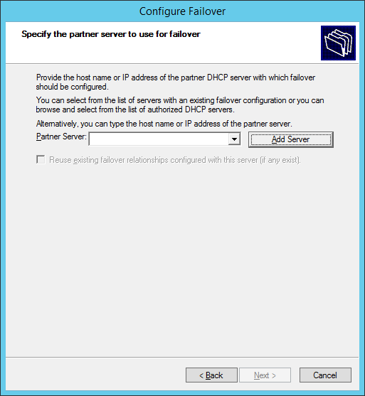 Configure Failover - Specify the partner server to use for failover - Add Server