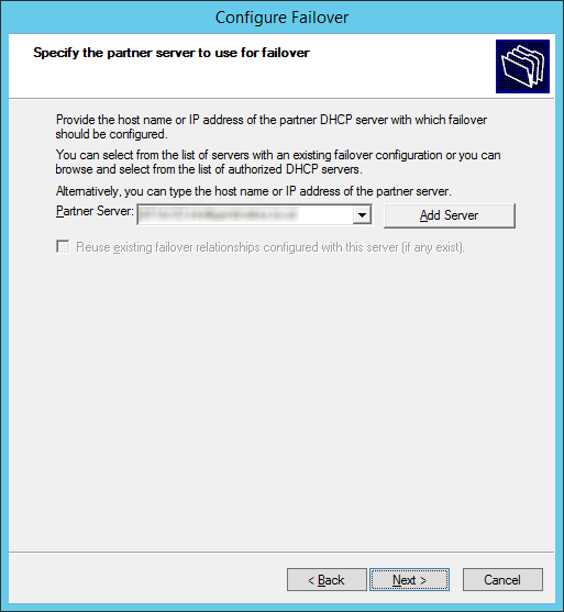 Configure Failover - Specify the partner server to use for failover - Partner Server