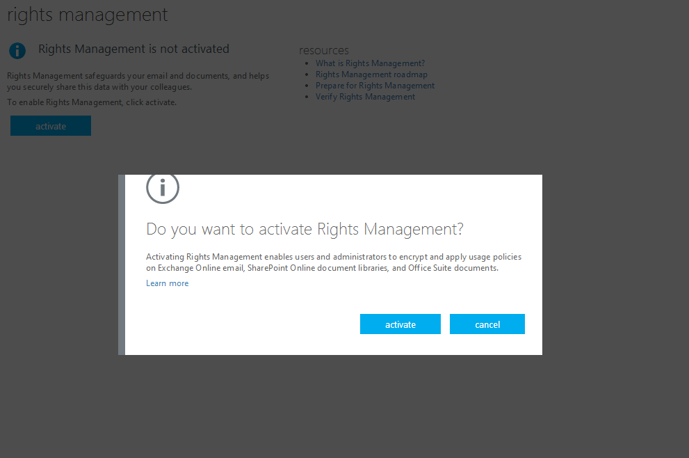 Do you want to activate Rights Management