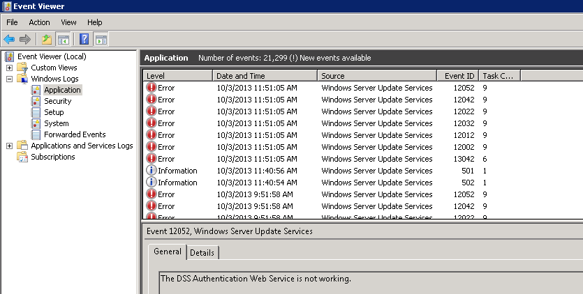 Event Viewer - WSUS Errors