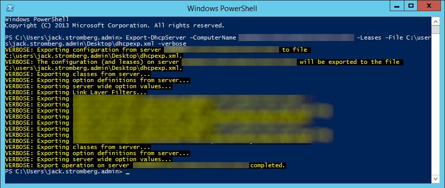 Export-DhcpServer Server 2012