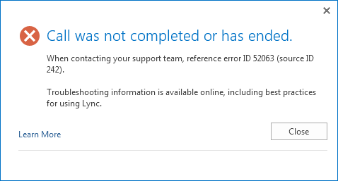 Lync error ID 52063 source ID 242