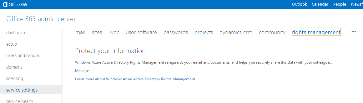 Office 365 Admin Portal - Service Settings - rights management