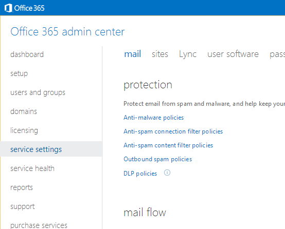 Office 365 Admin Portal - Service Settings