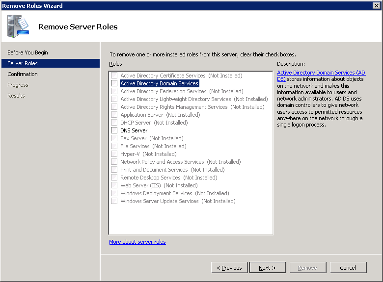 Remove Roles Wizard - Remove Server Roles - Active Directory Domain Services - DNS