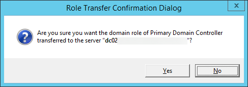 Role Transfer Confirmation Dialog - Primary Domain Controller