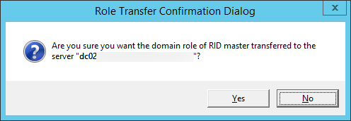 Role Transfer Confirmation Dialog - RID master