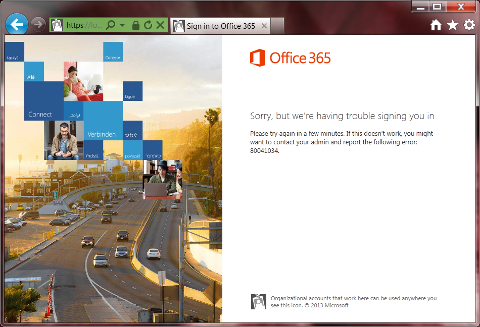 Office 365 - Error 80041034