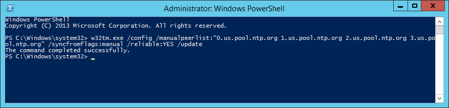 w32tm config manualpeerlist syncfromflags manual ntp
