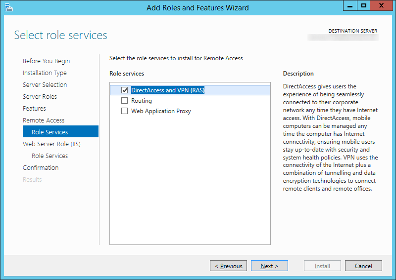Add Roles and Features Wizard - Remote Access - Select role services